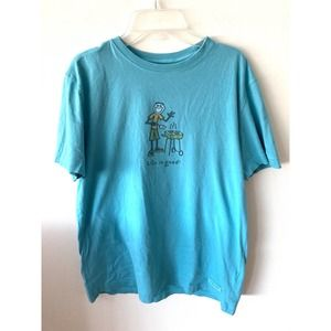 Life is Good BBQ T-shirt Teal Size Small